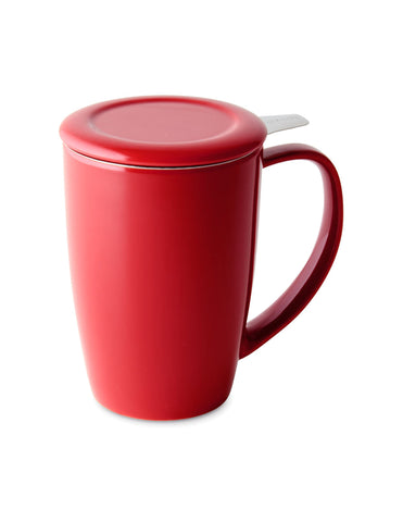 Curve Tall Tea Mug With Infuser & Lid 15 oz Red