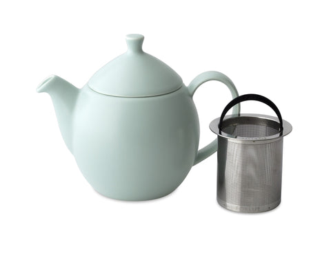 Dew Satin Teapot With Basket Infuser 32 oz Aqua Mint