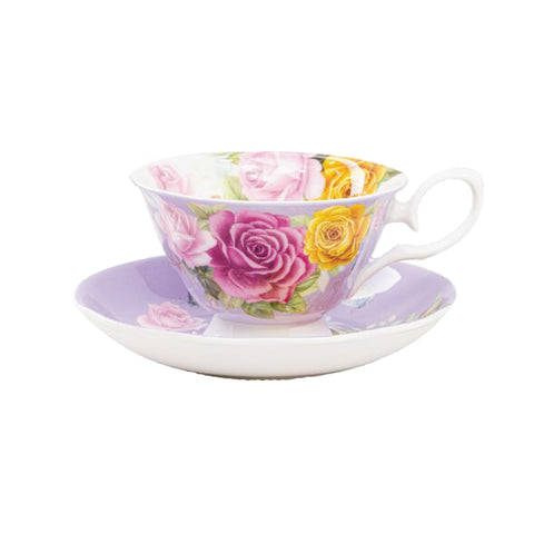 Floral Bouque Purple Cup with Saucer