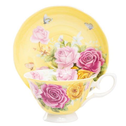 Floral Bouque Yellow Cup with Saucer