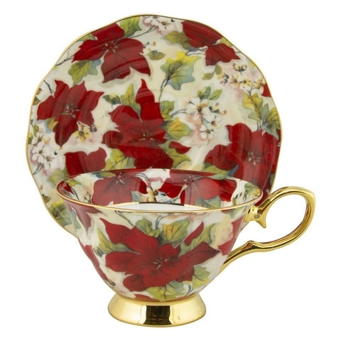 Gold pointsetta cup and saucer
