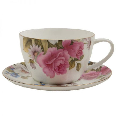 Grace Rose Bone China Jumbo Cup/Saucer