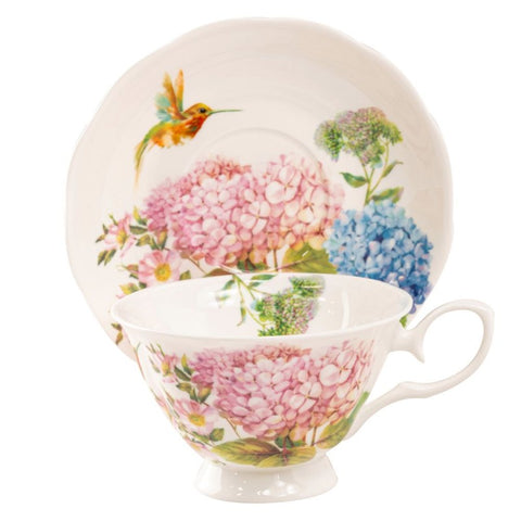 Hydrangea Everlasting Bone China Teacup with Saucer