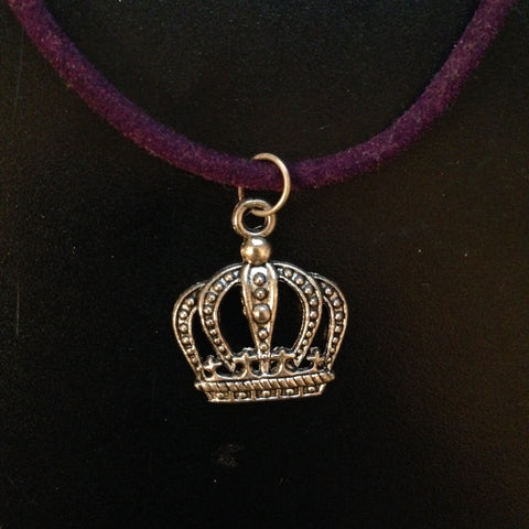 Crown Necklace with Purple Velvet Chain