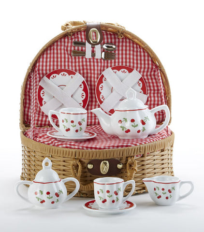 Tea Set with Basket, Cherries