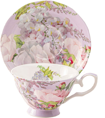 Peony Bloom Purple Bone China Teacup and Saucer