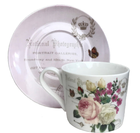 Botanical Pink Butterfly Teacup and Saucer