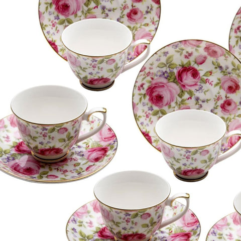 Pink Climb Rose Vine Demi Cup Saucer, Set of 4. Boxed