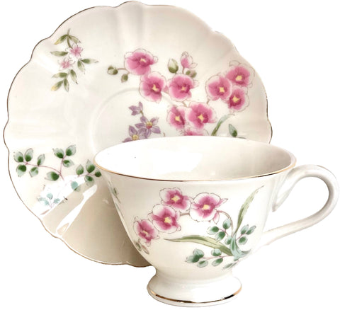 Pink Lily Bone China Teacup and Saucer