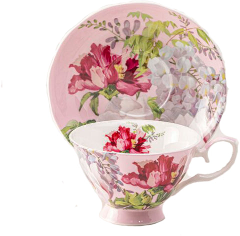 Peony Bloom Pink Bone China Teacup and Saucer