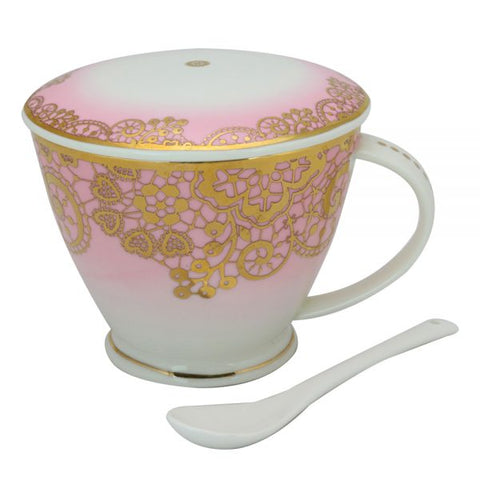Pink Lace Berry Mug With Infuser & Cover