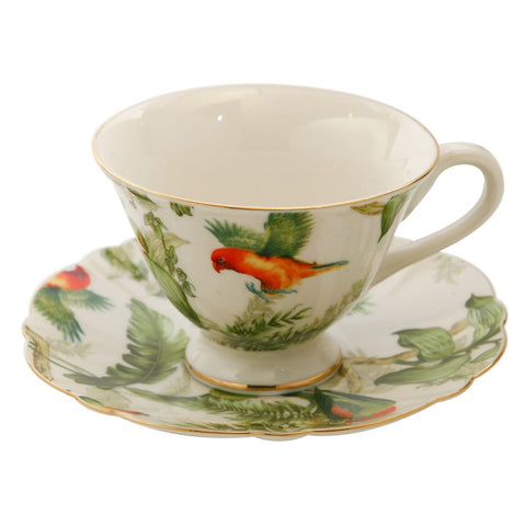 Rainforest Birds Teacup and Saucer