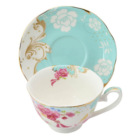 Rose Dot Blue Cup with Saucer