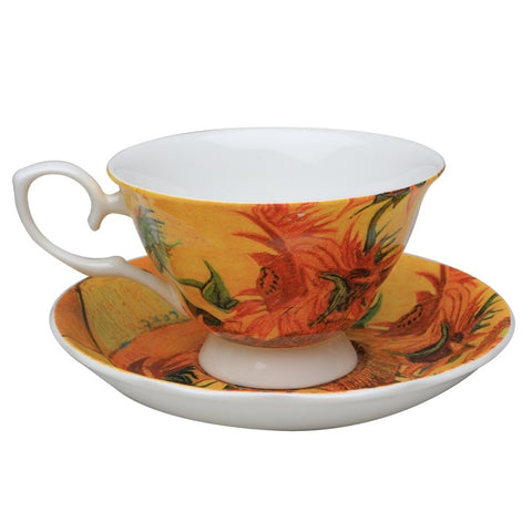 Sunflower Impression Teacup and Saucer