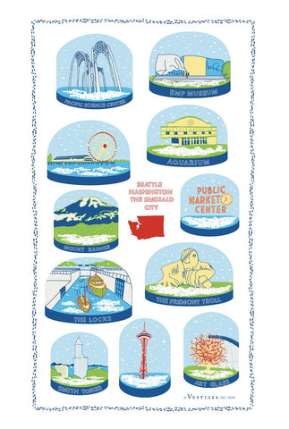 Tea Towel - Seattle Snow Globes