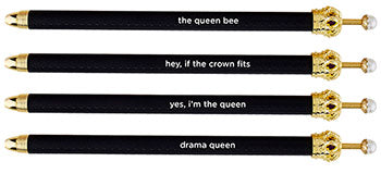 Crown Pen - Black assorted sayings