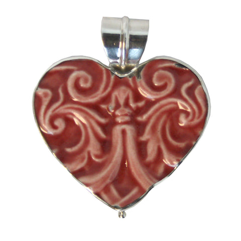 Heart Shaped Broken China Pendant - Red Filigree
