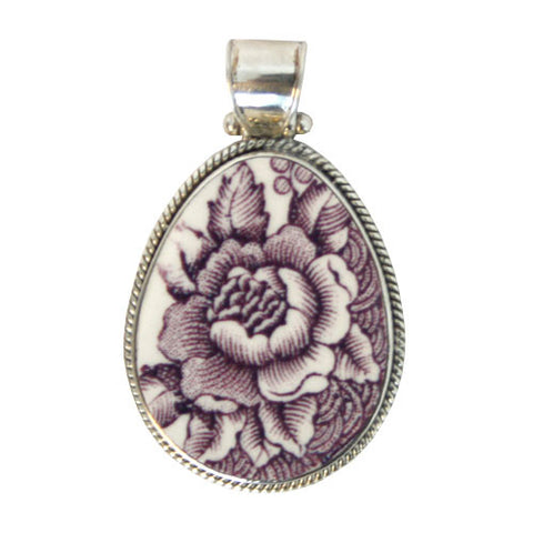 Teardrop Shaped Broken China Pendant - Purple Roses