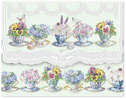 Pansy Teacup Note Card Set