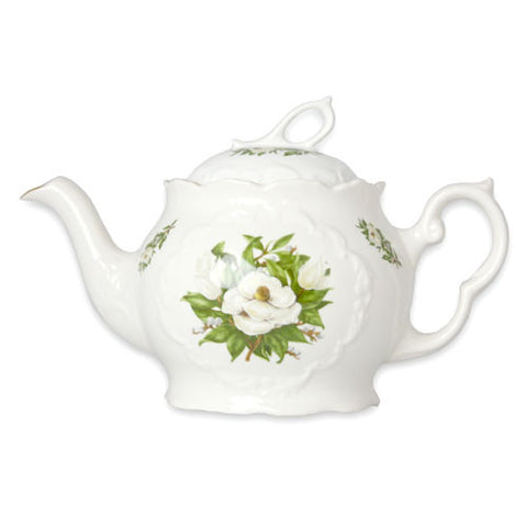 English Bone China Dainty Teapot - White Magnolia