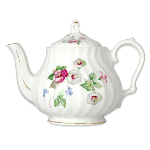 English Bone China Spiral Teapot - Hibiscus