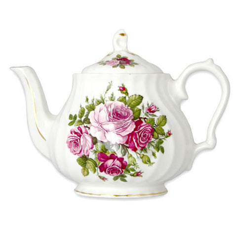 English Bone China Spiral Teapot - Victorian Roses