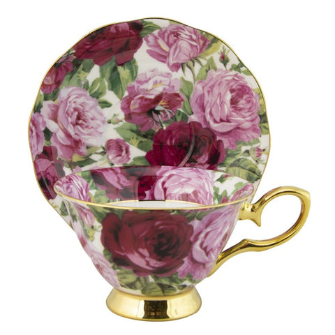 Rose Bloom with Gold Teacup and Saucer