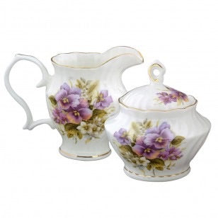 Pansy Creamer and Sugar Set