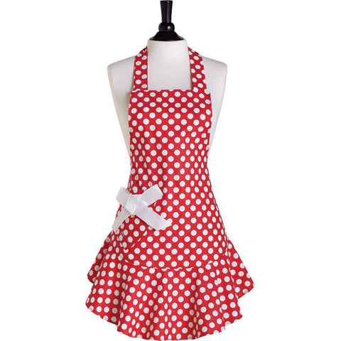 Jessie Steele Apron- Red Polka Dots
