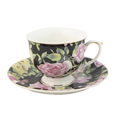 Blush Rose Black Teacup and Saucer