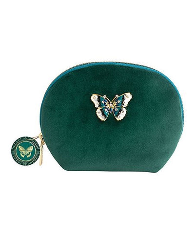 Emerald Green Velvet Pouch/Bag With Butterfly Brooch