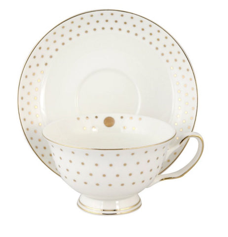 Lady Grace Gold Polka Dot Teacup and Saucer
