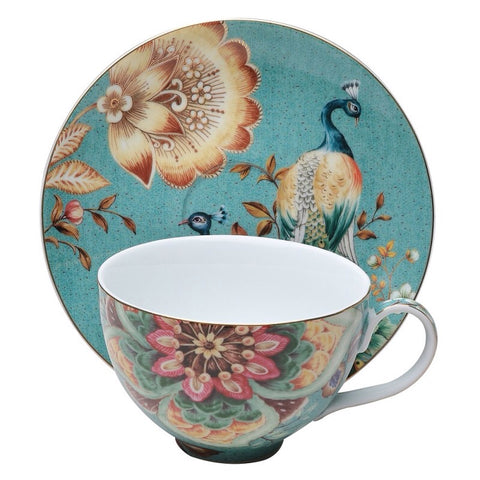 Peacock Green Breakfast Cup And Saucer