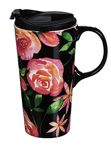 Floral Night 17 oz Ceramic Travel Mug