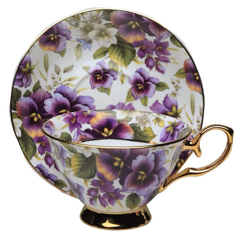 Purple Pansy with Gold Bone China Teacup and Saucer