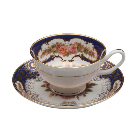 Emperor Cobalt Gold Teacup and Saucer