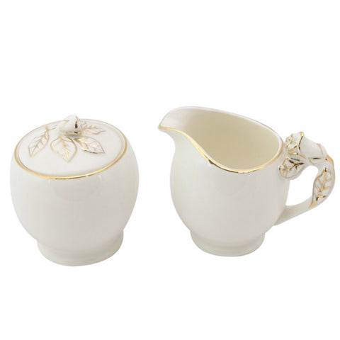 White and Gold Rose Bud Kids Sugar and Creamer Set