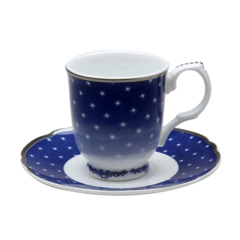 Blue Twinkle Star Mini Cup and Saucer Set of 4