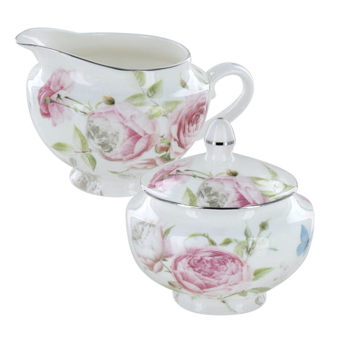 Beau Rose Bone China Sugar and Creamer Set
