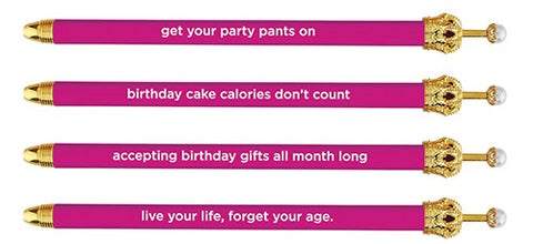 Crown Pen - Magenta assorted bithday sayings