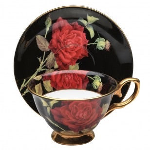 Black/Red Rose with Gold Teacup and Saucer