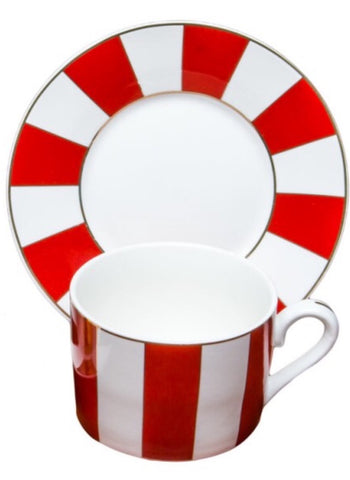 Carousal Red Teacup and Saucer