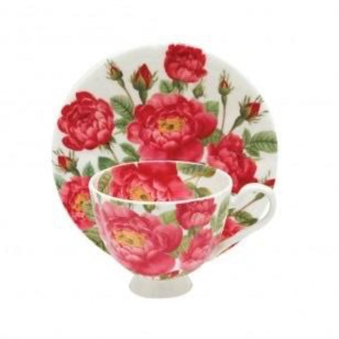 Scarlet Teacup and Saucer