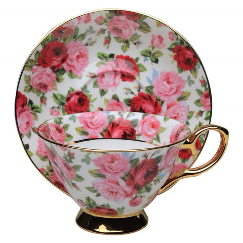 Pink and Red Rose with Gold Teacup and Saucer