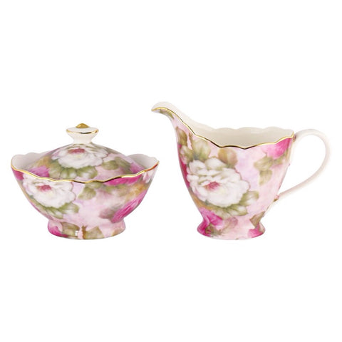 Victorian Pink Romantic Sugar and Creamer Set