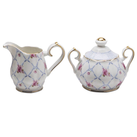 Blue Pink Chic Rose Sugar and Creamer Set