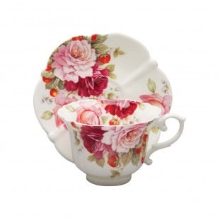 Summer Peony And Strawberry Scallop Teacup and Saucer