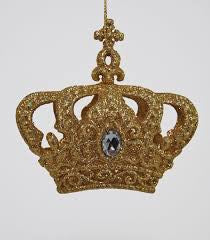 Gold Crown Glitter Ornament