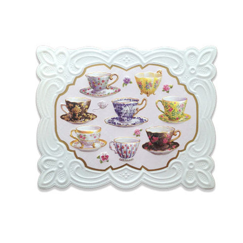 Embossed Card - Teacups