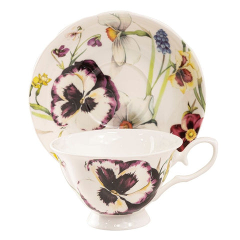 Purple Pansy Bone China Teacup and Saucer